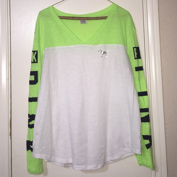 54% off PINK Victoria's Secret Tops - NEON GREEN PINK SHIRT from ...