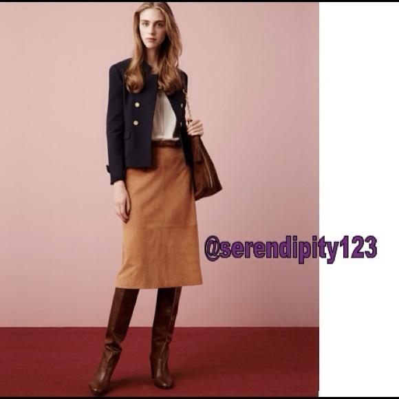 c57e16312398 Ann Taylor Suede Midi Skirt - Brown Sz 2 NWT