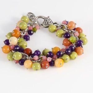 Cascade bracelet with mineral stoned