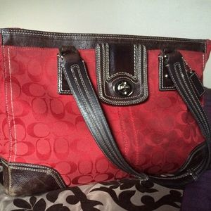 Red Coach Monogram Tote
