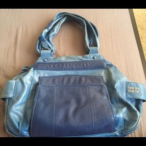 Authentic See By Chloe blue leather hand bag