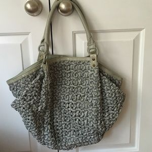 Blank Denim Handbags - Leather basket weave tote