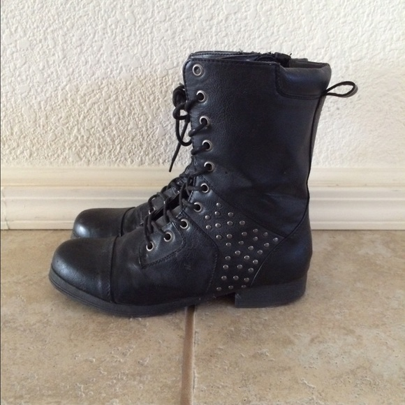 24 shoes black studded combat boots size 7 from