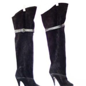 Calvin Klein Black suede over the knee heel boots