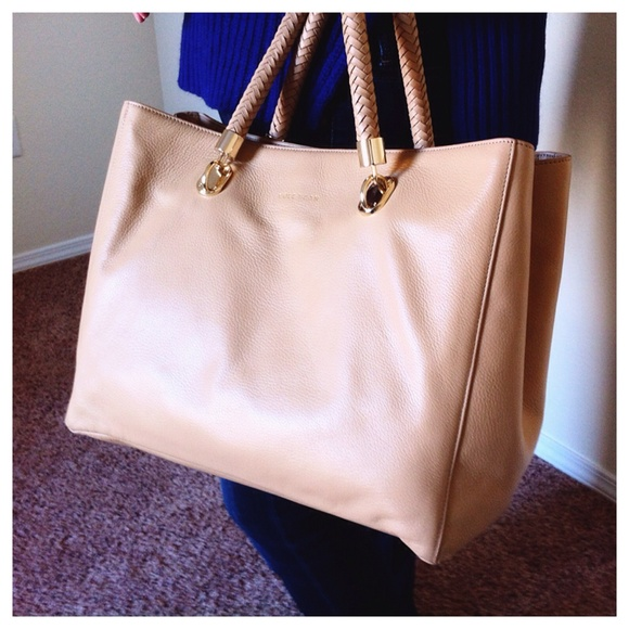 f0fbbe6d2ca9 Benson Large Sandstone Leather Tote Gold Hardware