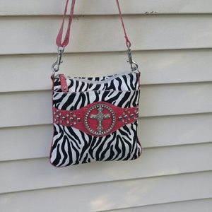Handbags - Zebra print big bling handbag