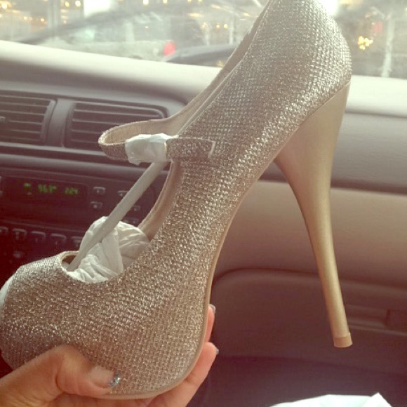 28ab3047b4d Gold Sparkly open toe prom heels