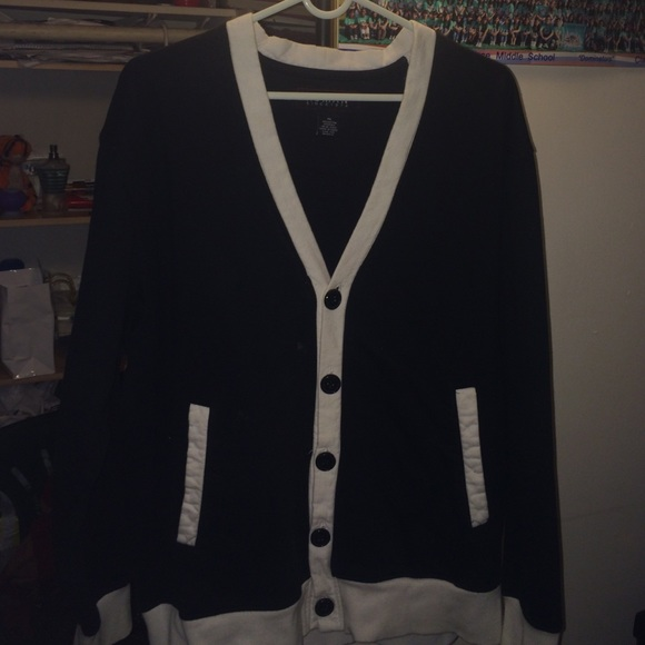 Koman - Nice black and white cardigan for men from Gabriel's ...