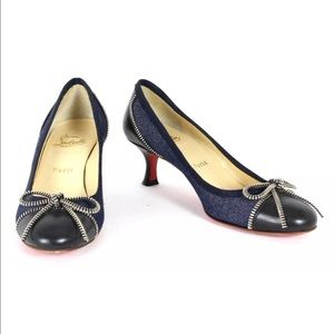CHRISTIAN LOUBOUTIN Denim & Leather Kitten W/ Bow