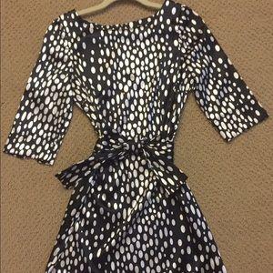 Zara black white dot print dress