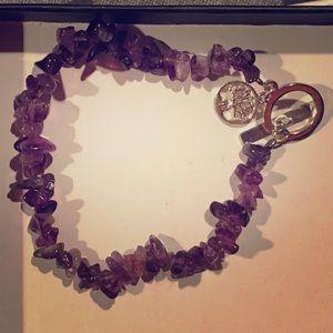 Jewelry - Purple rock bead bracelet with charm