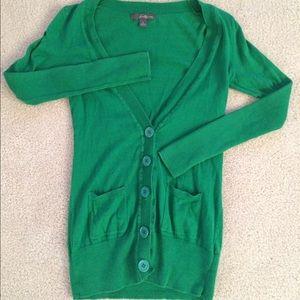 Kelly green longline cardigan