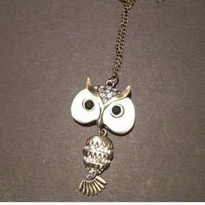 Jeweled pave owl pendant necklace