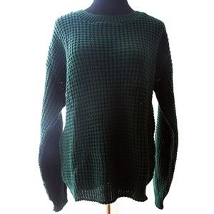 BOOHOO knit cable dark forest green sweater