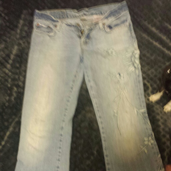 Lucky brand embroidered boot cut jeans from