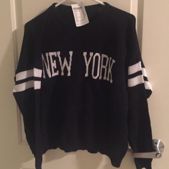Brandy Melville Sweaters New York Navy Blue Veena Varsity Sweater