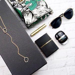 RM Gold Geometric Pavé Y Necklace