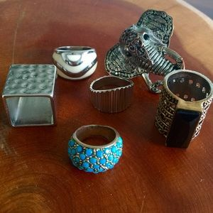 Set 6 rings oversize metal square elephant silver