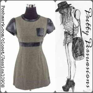 Adolfo Dominguez Dresses & Skirts - Adolfo Dominguez Houndstooth & Faux Leather Dress