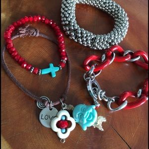 Set of 3 bracelets red and turquoise silver