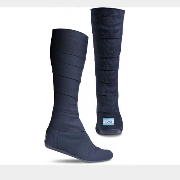 Toms Canvas Wrap Boots Navy Blue