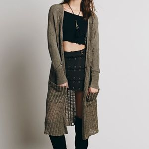 FREE PEOPLE SHADOW STRIPE DUSTER IN OLIVE