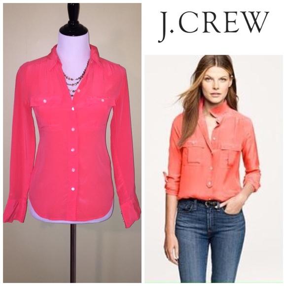 e03596f92 J. Crew Tops | Jcrew Bright Coral Silk Button Down Top Size 0 | Poshmark