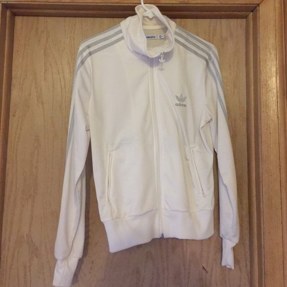 9f5705bfc Adidas Tops | Silver And White Vintage Jacket | Poshmark