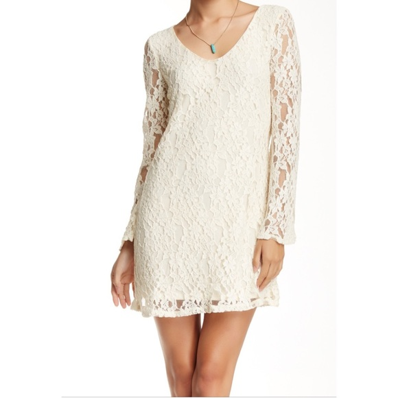 Nordstrom Dresses | Nwt Cream Lace Long Sleeve Shift Dress Short ...