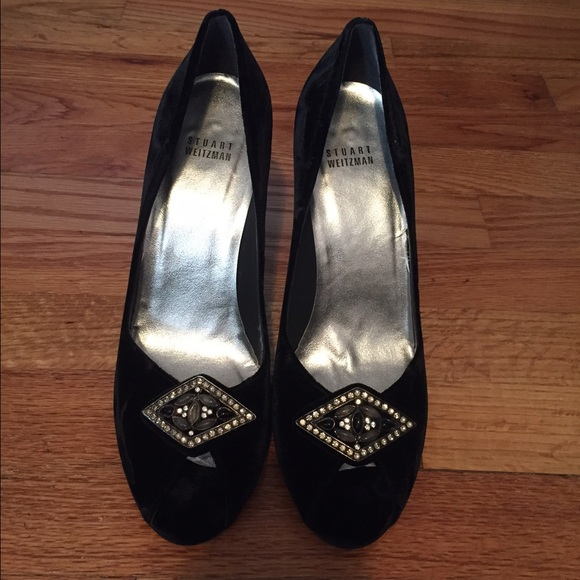 cd3f993b0587 Stuart Weitzman black velvet peep toe pumps. M 565b4bc6bf6df57404003936