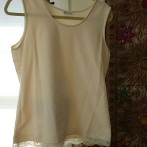 acorn  Tops - Cream color tank with a lace trim