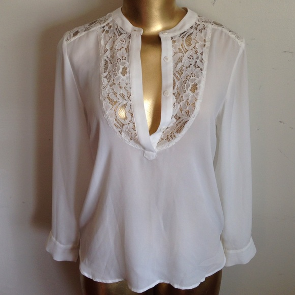19 Cooper Tops Beautiful White Blouse With Lace Poshmark