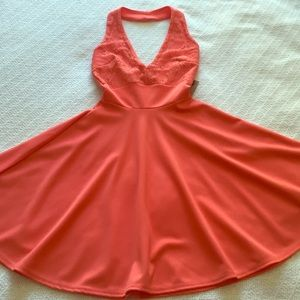 Coral halter dress with lace top