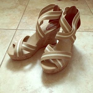 Cream, white, and brown wedges