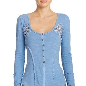 Free People Blue Lace Henley