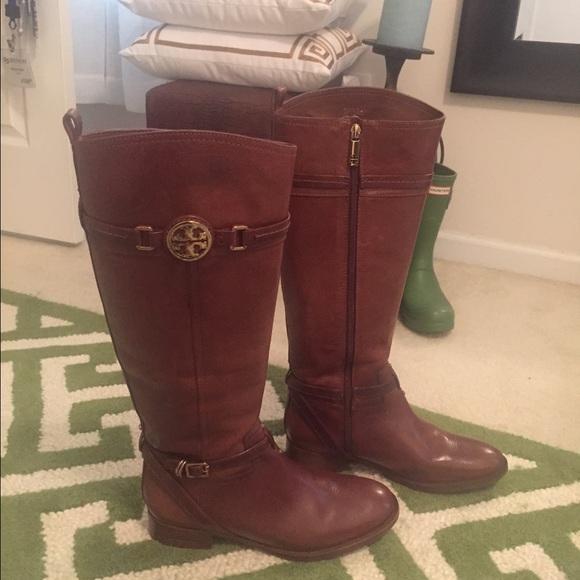 9ffda0650bbd Tory Burch Almond Calista Riding Boots Size 9.5. M 565b643ca88e7d137d0054b1