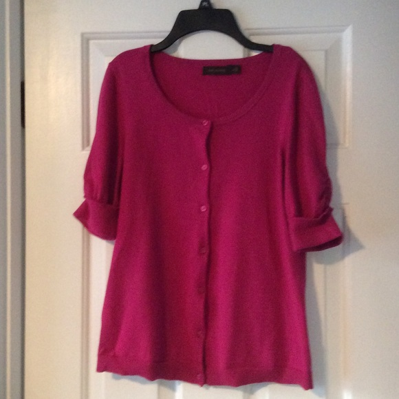 70% off The Limited Sweaters - Hot Pink Short-Sleeve Cardigan from ...