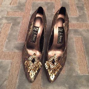 Vintage J. Renee Gold Brocade Party Heels 7.5M 8M