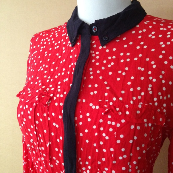 f1b259ef8b890 Anthropologie Tops - Maeve Red Polka Dot Blouse with Navy Trim
