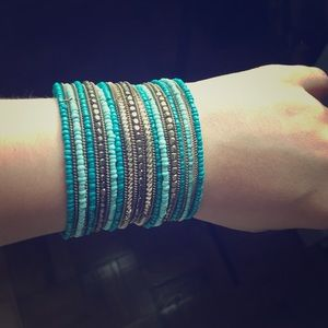 Turquoise and gold cuff bracelet