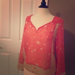 Altar'd State coral and beige sheer blouse