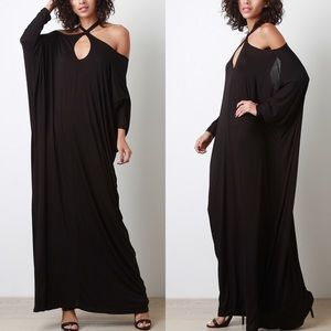 The Appeal Cold Shoulder Cross Maxi Dress