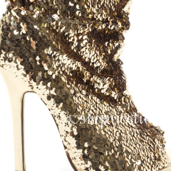 5bc47a674 Boutique Shoes | Slouchy Gold Sequin Peep Toe Boot | Poshmark