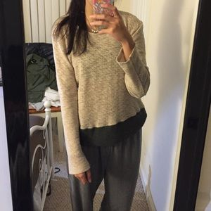 White and gray colorblock sweater