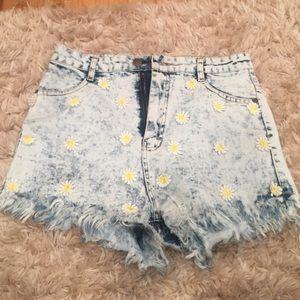 36 point 5 Pants - Denim flower shorts