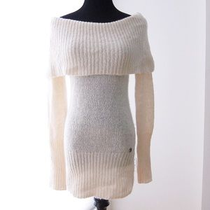 GUESS cream knit cowl-neck sweater dress
