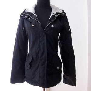 GUESS black hooded jacket with white inner liner