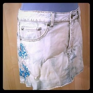 Free People Distressed Jean Skirt