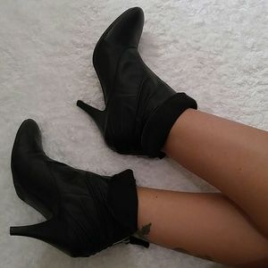 New black leather booties