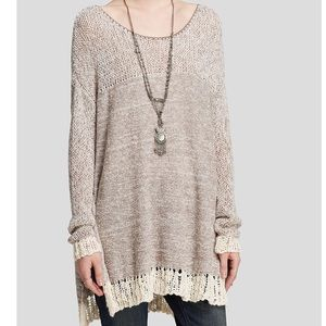 NWT FREE PEOPLE Hand Knit Crochet Sweater